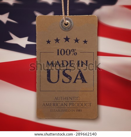 Made in USA. Vintage, realistic price tag on American flag background. - stock photo
