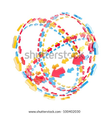 Made of colorful arrow orbit route empty sphere isolated on white - stock photo