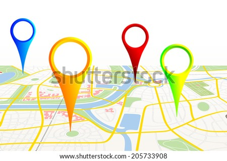 made-up map of a city with pins - stock photo