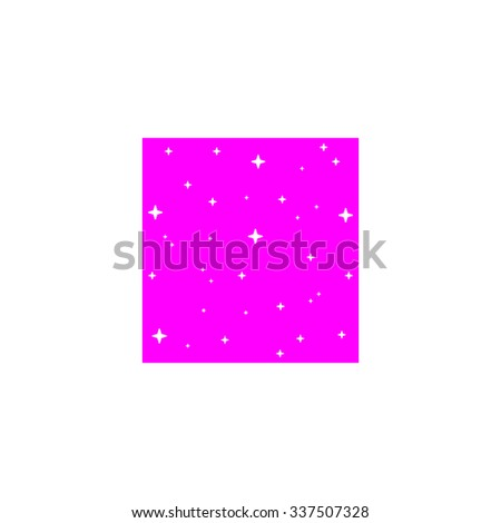 Made with stars in square. Pink icon on white background. Flat pictograph