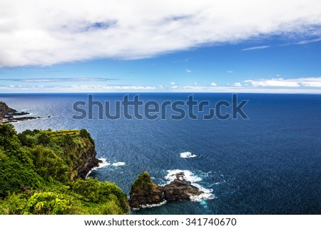 Madeira green beach, summer tropical seaside, Portugal - stock photo