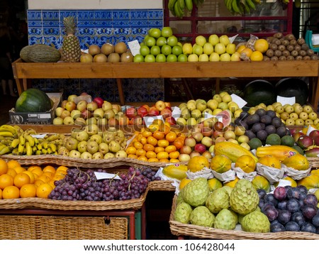 madeira island, farmers market - stock photo