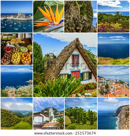 Madeira island landmarks and landscapes collage, Portugal  - stock photo