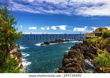 Madeira island seaside, Porto Moniz, Portugal - stock photo