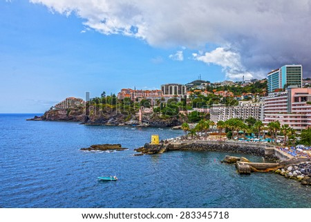 Madeira, Portugal, Funchal, seafront hotels - stock photo
