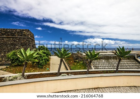 Madeira seafront and helipad, Portu Moniz, Madeira, Portugal - stock photo