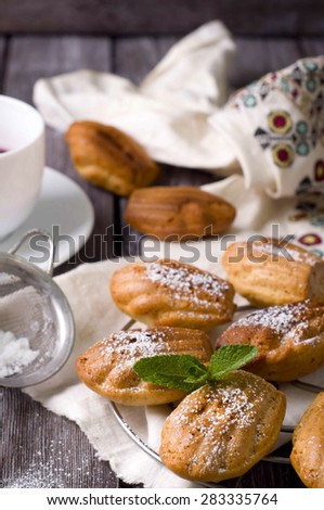 Madeleine cookies with cinnamon and poppy seeds on a dark wood background. tinting.  - stock photo