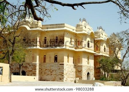 Madhavendra Bhawan at Nahargarh Fort, Jaipur. Madhavendra Bhawan is a palace at Nahargarh Fort. - stock photo
