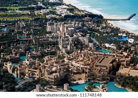 Madinat Jumeirah - big marketplace in Dubai - stock photo