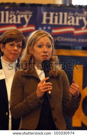 MADISON, WI-FEB. 2:Chelsea Clinton speaks on behalf of her mother, Hillary Clinton, to a group of University of Wisconsin college students during a campaign stop on February 2, 2008. - stock photo
