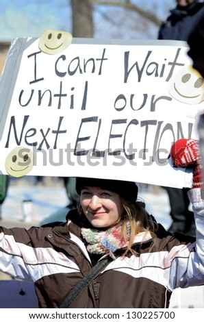 MADISON, WI - MARCH 3:Protesters in Wisconsin during a rally against Governor Scott Walker's budget bill on Mar 3, 2011. Walker has won the recall election, but he still faces a new election next year - stock photo