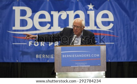 MADISON, WI/USA - July 1, 2015: Senator Bernie Sanders speaks to a crowd of over 10,000 during a campaign rally in Madison, Wisconsin, on July 1, 2015. - stock photo