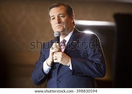 MADISON, WI/USA - March 30, 2016: Republican presidential candidate Ted Cruz speaks to a group of supporters during a free public rally before the Wisconsin presidential primary in Madison, Wisconsin. - stock photo