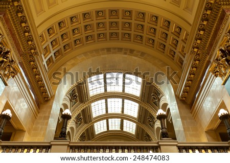 MADISON, WI/USA - OCTOBER 18, 2014: Interior of Wisconsin Capitol lavishly decorated with unique textures of 43 varieties of stone from around the world and designated a National Historic Landmark.