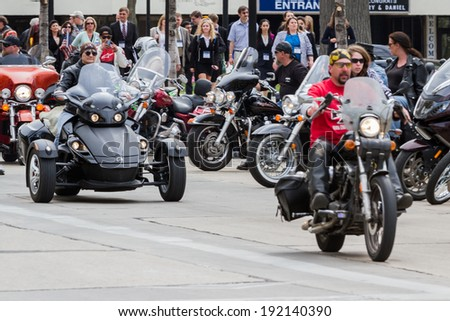"Madison, Wisconsin - May 10 : Motorcycle rally in the state capitol of Wisconsin for ""motorcycle awareness month"" , May 10 2014 in Madison Wisconsin"