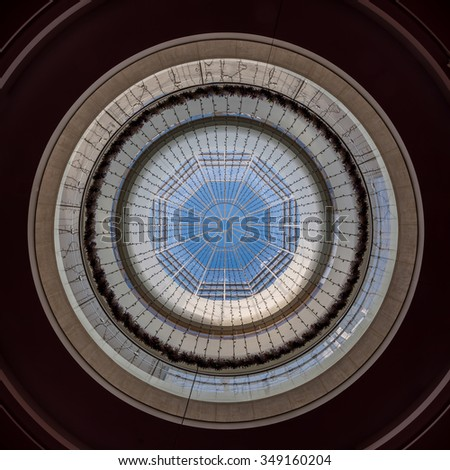 MADISON, WISCONSIN - NOVEMBER 19: Inner dome of the Overture Center for the Arts building on State Street on November 19, 2015 in Madison, Wisconsin  - stock photo