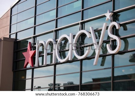 Madison, Wisconsin, USA - December 2, 2017: The sign in front of the Macy's Department Store near downtown Madison, Wisconsin. Macy's is a traditional retailer of many consumer goods.