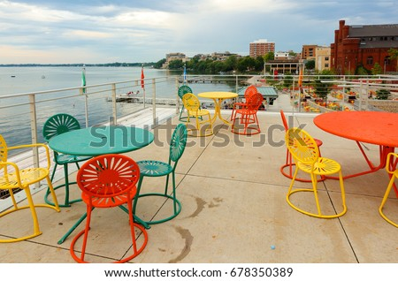 Madison Wisconsin USA - July 11 2017 Colorful chairs at Memorial Union & Madison Wisconsin USA July 11 2017 Stock Photo (Royalty Free ...