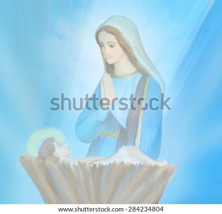 Madonna and child Jesus - stock photo