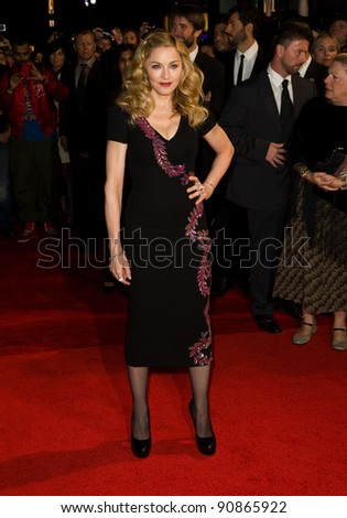 "Madonna arrives for the premiere of ""W.E."", as part of the London Film Festival 2011, at the Vue West End, London. 23/10/2011 Picture by: Simon Burchell / Featureflash - stock photo"