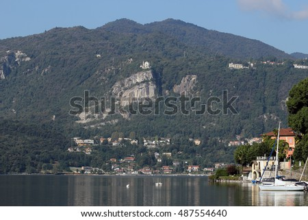 Madonna del Sasso church over Orta Lake, Italy