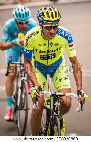 Madonna di Campiglio, Italia 24 maggio 2015; Ivan Basso during the fifteenth stage of the Tour of Italy 2015. Stage mountain from Marostica to Madonna di Campiglio.