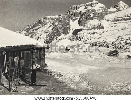 "Madonna di Campiglio, Italy. Alpine farming ""Spinale"" , winter 1937. Scan, private family collection before WWII."
