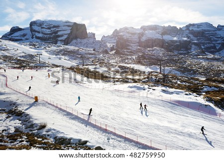 MADONNA DI CAMPIGLIO, ITALY - DECEMBER 18: The ski slope at Passo Groste area on December 18, 2015 in Madonna di Campiglio, Italy. More then 46 mln tourists is expected to visit Italy in year 2015.