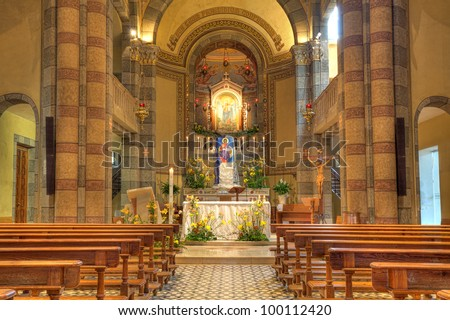 Madonna Moretta Catholic church interior view in Alba, Northern Italy. - stock photo