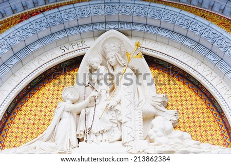 Madonna Statue at the sanctuary of Lourdes, France - stock photo