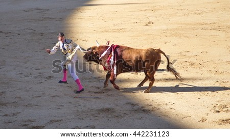 "Madrid - April 16, 2016: Spanish torero is performing a bullfight at the bullfight arena on April 16, 2016 in Madrid (Spain). ""Corrida"" (bullfighting) of bulls is Spanish tradition."