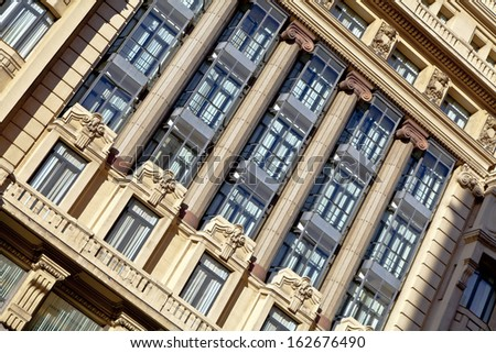 Madrid. Architecture fragment of the facade with columns. - stock photo