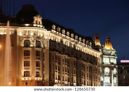 Madrid, capital city of Spain. Old architecture - night view.