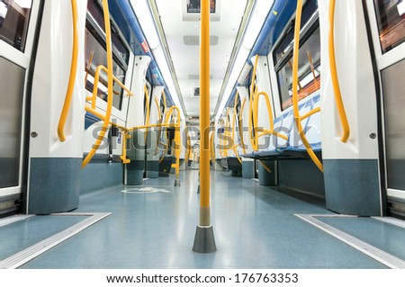 MADRID - DECEMBER 21: Inside an empty subway train on December 21, 2012 in Madrid, Spain. This Metro train is the newest of the narrow line trainsets.