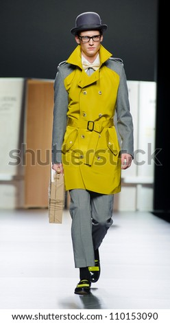 MADRID - FEBRUARY 03: A model walks on the Ana Locking catwalk during the Mercedes-Benz Fashion Week Madrid runway on February 03, 2012 in Madrid, Spain.