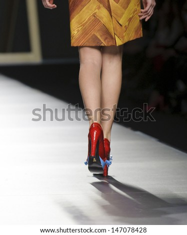 MADRID - FEBRUARY 21: Details of shoes on the Moises Nieto catwalk during the Cibeles Madrid Fashion Week runway on February 21, 2013 in Madrid.