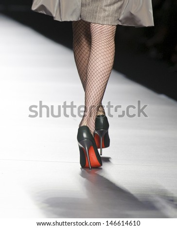MADRID - FEBRUARY 19: Details of shoes on the Victorio & Lucchino catwalk during the Cibeles Madrid Fashion Week runway on February 19, 2013 in Madrid.
