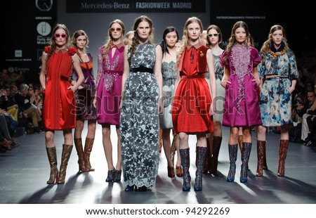 MADRID – FEBRUARY 01: Models walking on the Victorio & Lucchino  catwalk during the Mercedes-Benz Fashion Week Madrid on February 01, 2012 in Madrid. - stock photo