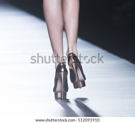 MADRID - FEBRUARY 21: shoes details on the Maya Hansen catwalk during the Mercedes-Benz Fashion Week Madrid Fall/Winter 2016 runway on February 21, 2016 in Madrid.