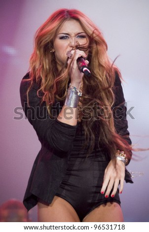 MADRID - JUNE 6: Miley Cyrus's concert during the Rock in Rio in Arganda del Rey on June 6, 2010 in Madrid - stock photo