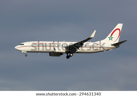 MADRID - MARCH 3: A Royal Air Maroc Boeing 737 approaches on March 3, 2015 in Madrid. Royal Air Maroc is the national carrier of Morocco with headquarters in Casablanca.
