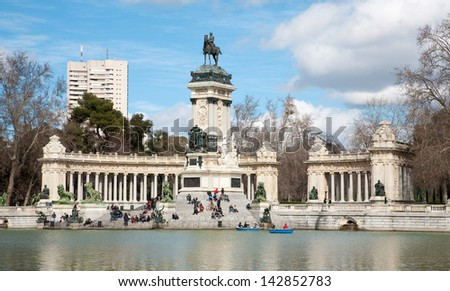 MADRID - MARCH 9: Monument of Alfonso XII in Buen Retiro park by architect Jose Grases Riera from year 1902 in March 9, 2013 in Spain.
