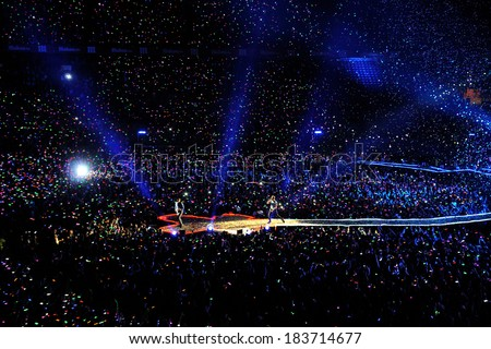 MADRID - MAY 20: Coldplay band performs at Vicente Calderon stadium on May 20, 2012 in Madrid, Spain. Mylo Xyloto tour.