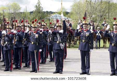 MADRID - MAY 5: Royal guards. Ceremony of the Oath of Allegiance of the Royal Guards at El Pardo Palace on May 4, 2012 in Madrid