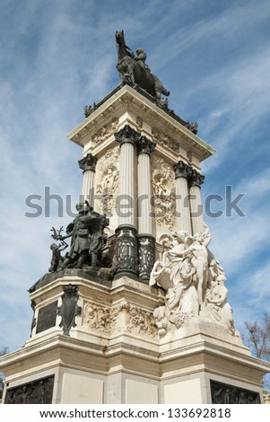 Madrid - Monument of Alfonso XII in Buen Retiro park by architect Jose Grases Riera from year 1902 in March 9, 2013 in Spain.