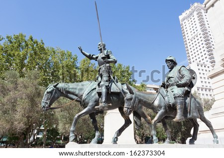Madrid. Monument to Cervantes, Don Quixote and Sancho Panza. Spain