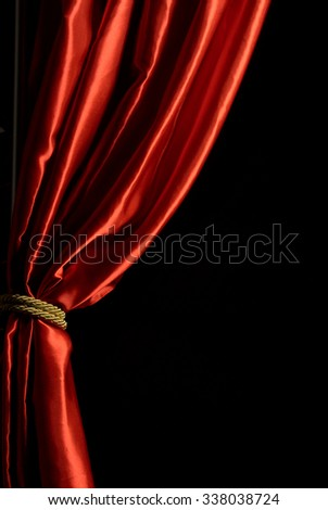 MADRID - NOVEMBER 11: Red curtain with black background november 11 in Madrid - stock photo