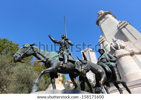 MADRID - OCTOBER 22: Don Quixote and Sancho Panza statue on October 22, 2012 in Madrid. The Cervantes monument was created by Lorenzo Coullaut Valera in 1925-1930.