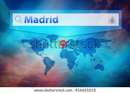 Madrid search result, location Madrid city on the global map. Madrid, Spain in the search bar, red point marker marked the Madrid place on world map. Blue background, dark blue map, white search bar. - stock photo