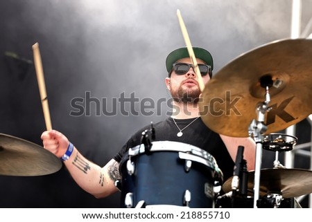 MADRID - SEP 13: Drummer of Royal Blood (British rock duo band formed in Worthing) concert at Dcode Festival on September 13, 2014 in Madrid, Spain. - stock photo